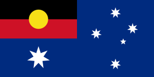 Combination of the Australian national flag and Indigenous Australian flag