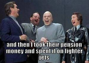 pension money for fighter jets