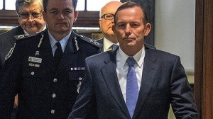 This PR shot released by the PM's office is meant to show a strong determined front in the face of terror - pity that Abbot just looks smug at the idea of playing Churhill