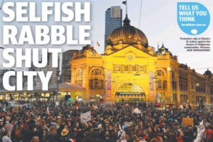 Murdoch press headline for May 1 protest.